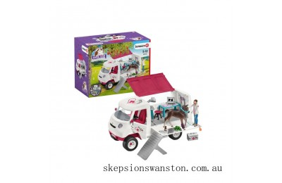 Genuine Schleich Mobile Vet Van with Hanoverian Foal