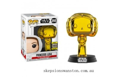 Star Wars Princess Leia Gold Chrome SW19 EXC Funko Pop! Vinyl Clearance Sale