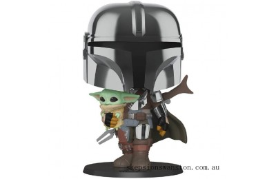 Star Wars The Mandalorian with Chrome Armour Carrying Baby Yoda 10-Inch Funko Pop! Vinyl Clearance Sale