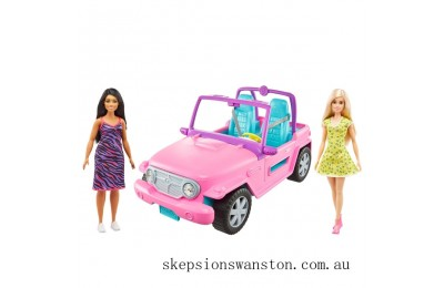 Outlet Sale Barbie Jeep with 2 Dolls