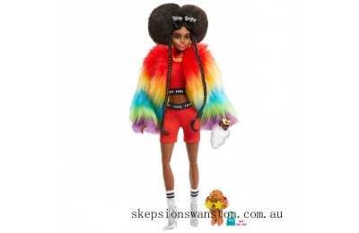 Hot Sale Barbie Extra Doll in Rainbow Coat with Pet Dog Toy