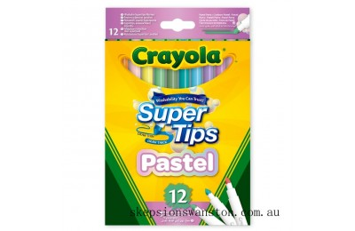 Genuine Crayola 12 Pack SuperTips Pastel Edition