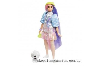 Discounted Barbie Extra Doll in Shimmery Look with Pet Puppy Toy