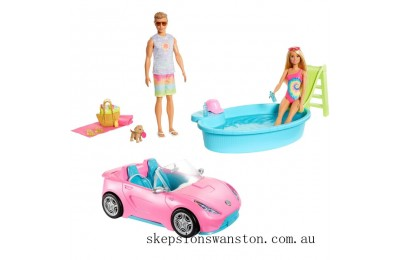 Genuine Barbie Beach Fun Playset with Dolls Pool and Car
