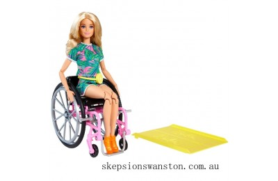 Genuine Barbie Doll 165 with Wheelchair Blonde