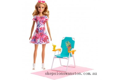 Hot Sale Barbie Doll Blonde and Beach Accessories Set