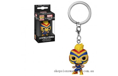 Marvel Luchadores Captain Marvel Pop! Keychain Clearance Sale