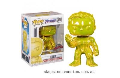 Marvel Avengers 4 Yellow Chrome Hulk EXC Funko Pop! Vinyl Clearance Sale