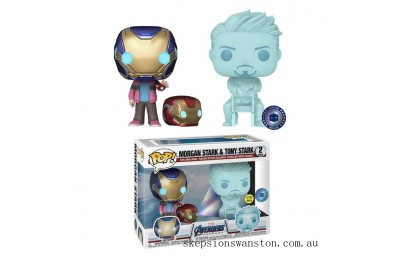 PIAB EXC Marvel Morgan & Hologram Tony Stark with Helmet EXC Funko Pop! Vinyl 2 Pack Clearance Sale