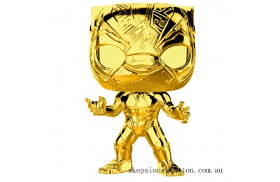 Marvel MS 10 Black Panther Gold Chrome Funko Pop! Vinyl Clearance Sale