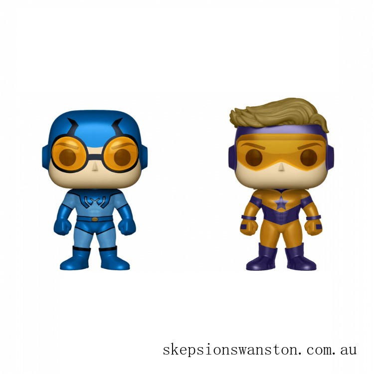 DC Blue Beetle & Booster Gold Metallic 2 Pack EXC Funko Pop! Vinyls Clearance Sale