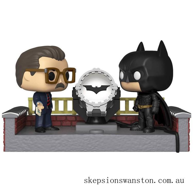 Batman with Light Up Bat Signal Funko Pop! Movie Moment Clearance Sale