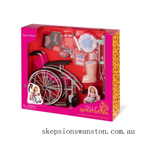 Genuine Our Generation Care Set with Foldable Wheelchair