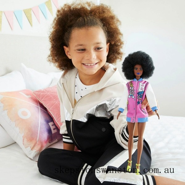 Hot Sale Barbie Fashionista Pink Letterman Jacket Doll