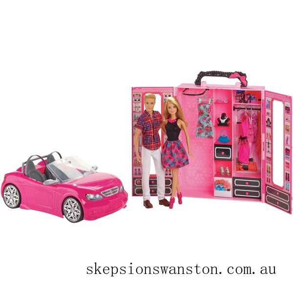 Hot Sale Barbie Dress Up and Go Closet and Convertible Car with 2 Dolls