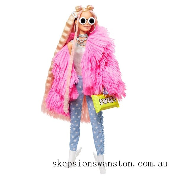 Clearance Barbie Extra Doll in Pink Fluffy Coat with Unicorn-Pig Toy