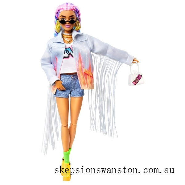 Outlet Sale Barbie Extra Doll in Denim Jacket with Pet Puppy