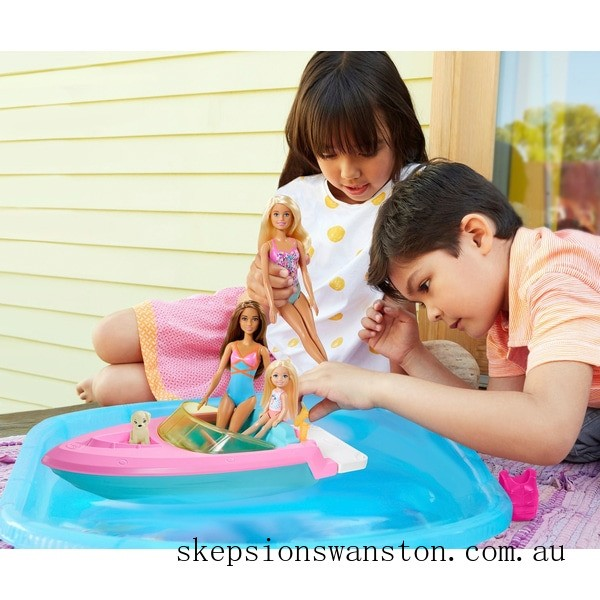 Clearance Barbie Boat with Puppy and Accessories