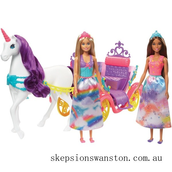 Clearance Barbie Dreamtopia Carriage with 2 Dolls