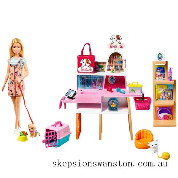 Genuine Barbie Doll and Pet Boutique Playset with Pets and Accessories
