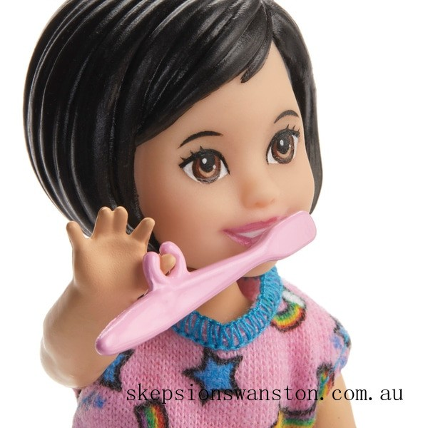 Genuine Barbie Skipper Babysitters Bedtime Playset Doll and Accessories