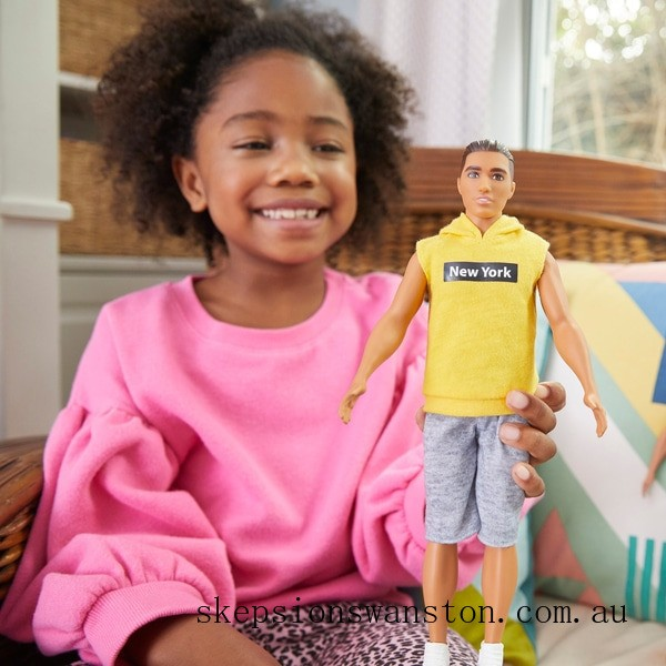 Outlet Sale Ken Fashionista Doll 131 Yellow NY Hoodie
