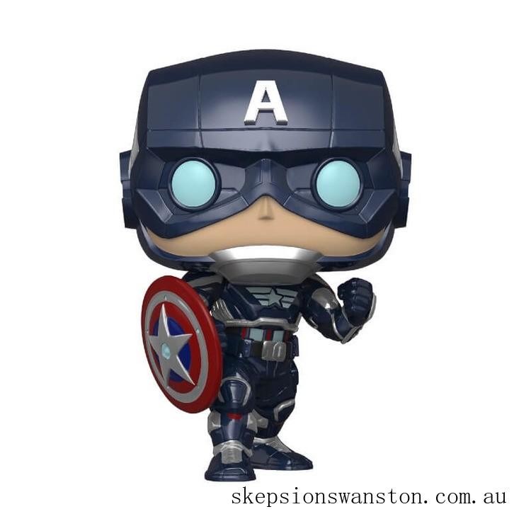 Marvel Avengers Game Captain America (Stark Tech Suit) Funko Pop! Vinyl Clearance Sale